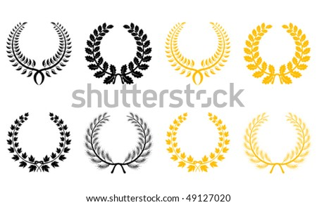 Set of gold and black laurel wreaths. Jpeg version is also available