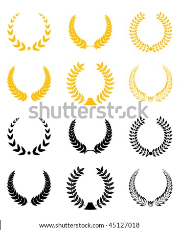 Set of gold and black laurel wreaths or logo template. Jpeg version is also available - stock vector