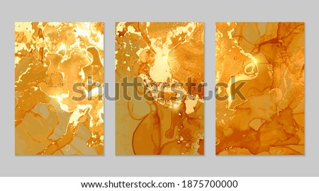 Set of gold and honey flyers with geode. Marble abstract pattern. Alcohol ink technique stone texture. Vector background. Modern paint with glitter. Banner, poster design template. Сток-фото ©