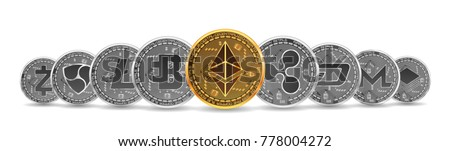 Set of gold and silver crypto currencies with golden ethereum in front of other crypto currencies as leader isolated on white background. Vector illustration. Use for logos, print products