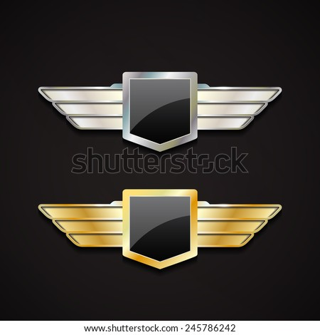 set of gold and silver emblems