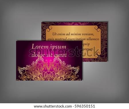 Purple creative business card download free vector art stock set of gold business card flyer template abstract elegant pattern vector design editable colourmoves