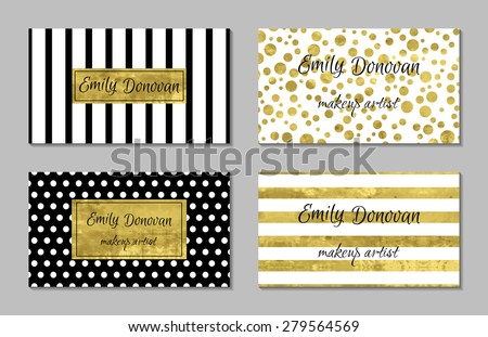 Set of gold business card template or gift cards.  Texture of gold foil. Luxury vector illustration. Editable template. Space for  text. Line, confetti.