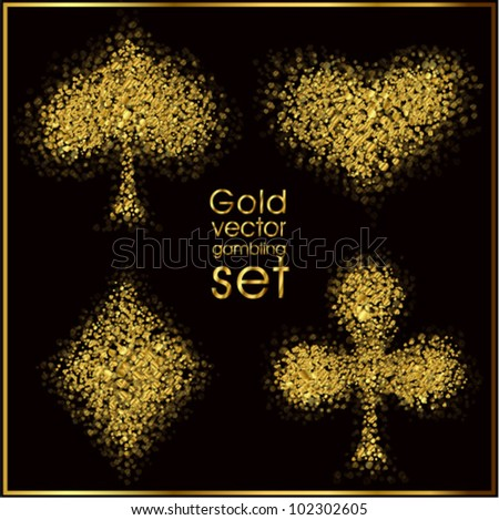 Set of 4 gold card suit (vector).