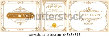 Set of gold Certificate frame template with corner thailand line floral for picture, Vector design decoration pattern style.frame border design is pattern