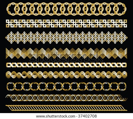 Set of gold chains on black background