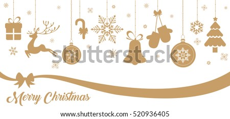 Set of gold Christmas elements hanging