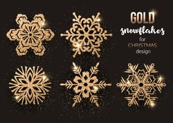 Set of gold Christmas snowflakes vector illustration