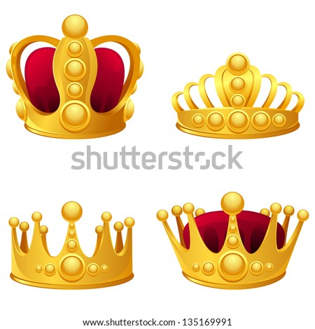 set of gold crowns isolated