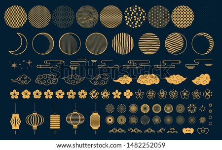 Set of gold decorative elements in oriental style with moon, stars, clouds, pattern circles, lanterns, fireworks, flowers, for Chinese New Year, Mid Autumn. Isolated objects. Vector illustration.