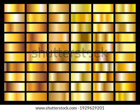 Set of gold foil texture background. Golden, copper, brass and metal gradient template. Vector illustration