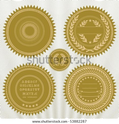 Set of gold medals or seals. All pieces are separate and easy to edit. - stock vector