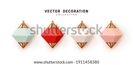 Set of gold metal multicolored lanterns, pendant street lamps. Collection Realistic Decorative 3d render object. Element for design. Celebrate Lantern Festival Vector illustration