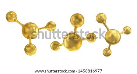 Set of gold molecules. Vector 3d illustration.