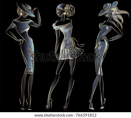 Set of gold neon fashion woman silhouette, beautiful fashion model on black background logo vector illustration art