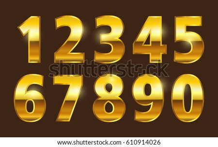 Set of gold numbers.Vector metal numbers.