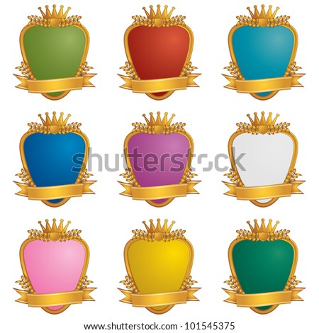 set of gold ornamental emblems with blank ribbons, isolated on white