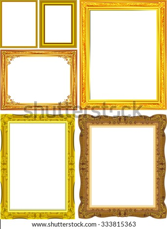 Set of Gold photo frame with corner thailand line floral for picture, Vector design decoration pattern style. wood border design is patterned Thai style