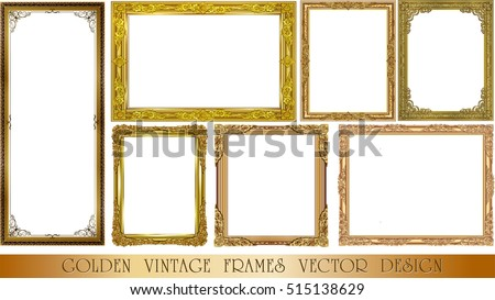Set of Gold photo frame with corner thailand line floral for picture, Vector design decoration pattern style.frame border design is pattern Thai style