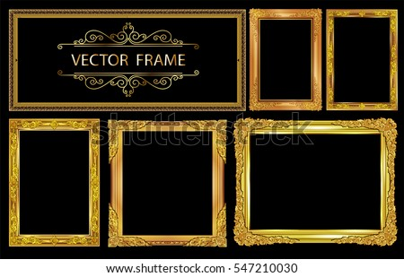 Set of Gold photo frames with corner thailand line floral for picture, Vector design decoration pattern style.frame border design is pattern Thai style