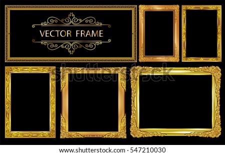 Set of Gold photo frames with corner thailand line floral for picture, Vector frame design decoration pattern style. wood frame border design is patterned Thai style