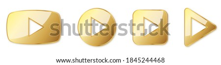 Set of gold play buttons. Play icons isolated. Vector illustration. Gold play symbol