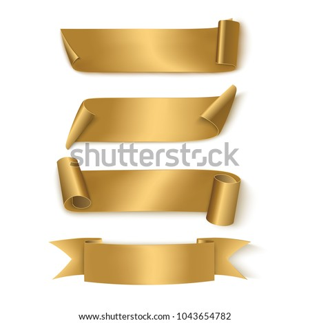 Set of Gold Realistic Ribbons