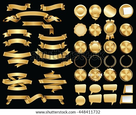 Set of Gold Ribbons and Certificate Seals and Badges
