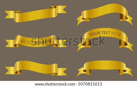 Set of gold ribbons.Golden ribbon banners.Vector illustration.