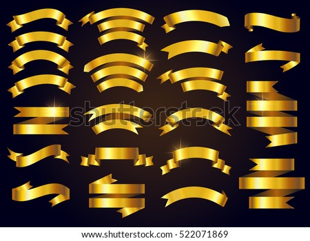 Set of gold ribbons.Vector ribbon banners.