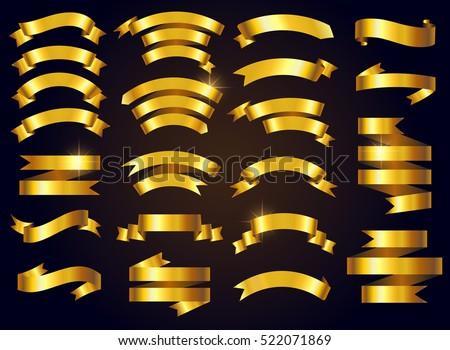 Set of gold ribbons.Vector ribbon banners.