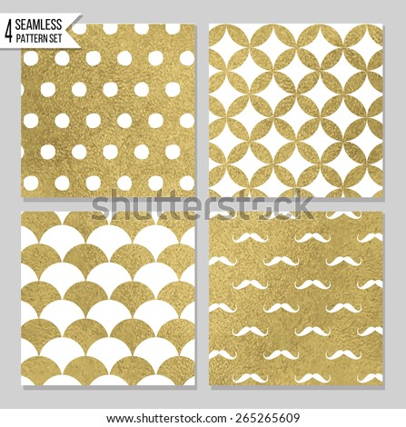 Set of 4 gold seamless patterns