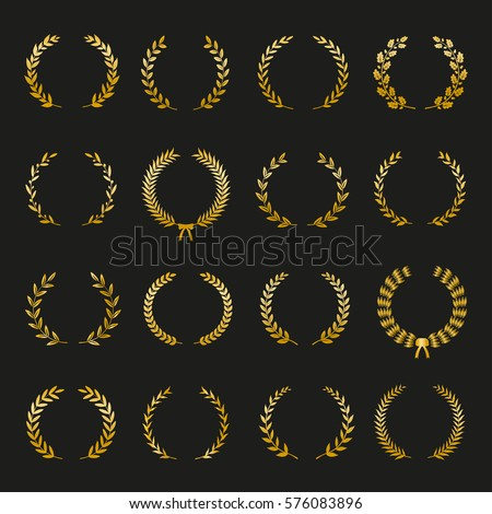 Set of gold silhouette circular laurel foliate and oak wreaths depicting an award, achievement, heraldry, nobility on black background. Vector illustration.