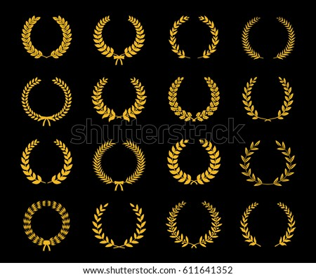 Set of gold silhouette circular laurel foliate and oak wreaths depicting an award, achievement, heraldry, nobility. Vector illustration.