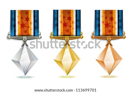 Set of gold, silver and bronze crystals with ribbon over white background