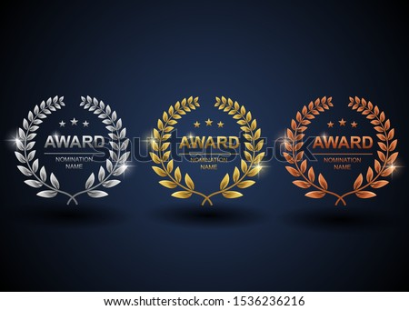 Set of gold, silver and bronze laurel wreath. Winner label, leaf symbol victory with blue background. Vector illustration