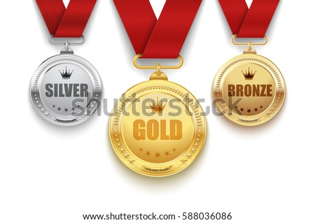 Set of gold, silver and bronze medals with red ribbon. Vector illustration