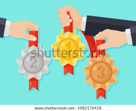 Set of gold, silver, bronze medal for first place. Man hand hold trophy, award for winner  isolated on background. Golden badge with ribbon. Achievement, business victory. Vector cartoon flat design