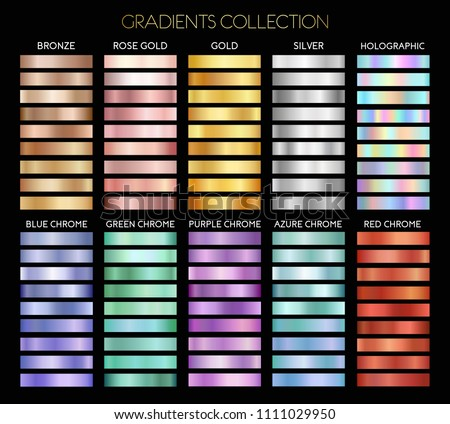 Set of gold, silver, bronze, rose gold, holographic, blue, green, purple, azure and red chrome foil texture backgrounds. Vector illustration for frame,ribbon,banner,poster,label. Gradients collection