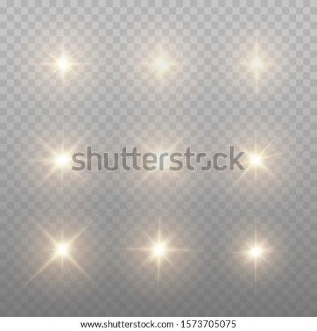 Set Of Gold Sparks Isolated. Vector Glowing Stars. Lens Flares and Sparkles Template For Your Design