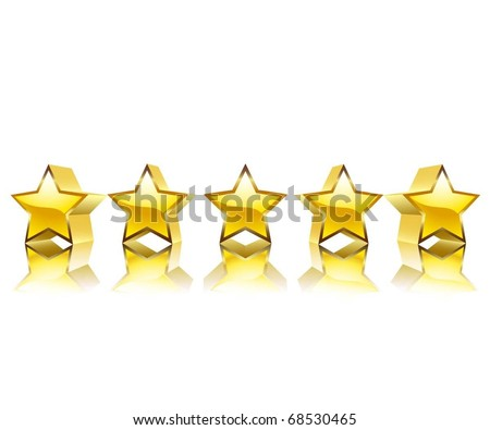 Set of gold stars on a white background. Vector. - stock vector