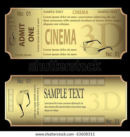 set of gold tickets isolated on black background vector.