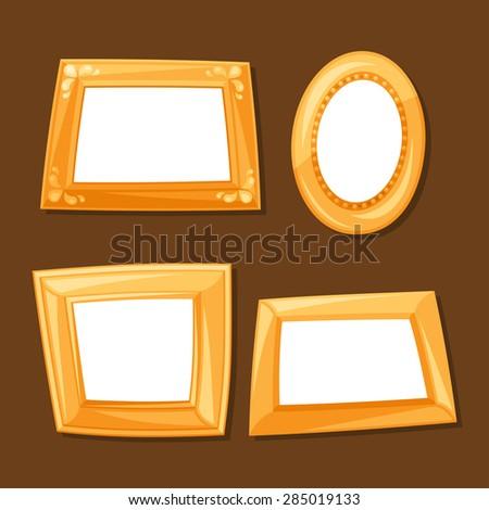set of gold various frames on