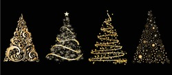 set of gold vector stylized Christmas tree on black background