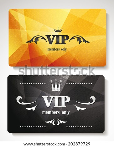 set of gold vip cards with