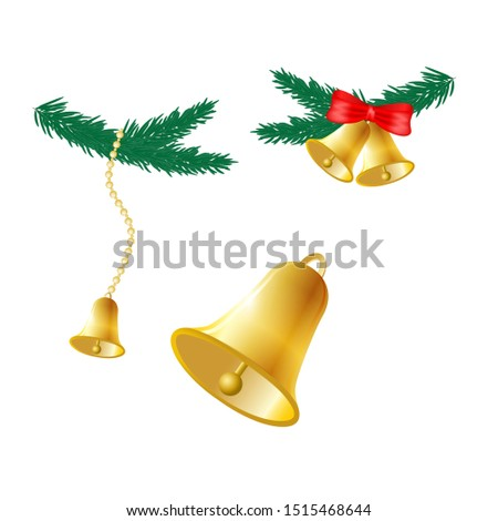 Set of Golden bells. Christmas bells. School bells.