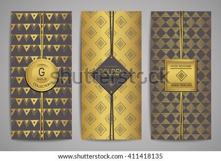 Set of golden brochures with hand drawn design elements. Vector trendy templates.
