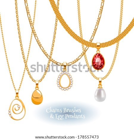 Set of golden chains with egg form pendants Precious necklaces Include chains brushes