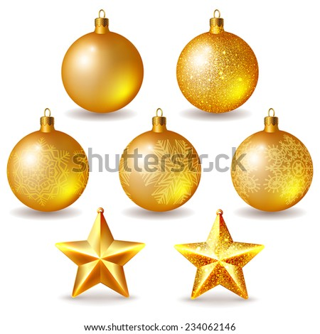 set of golden christmas balls