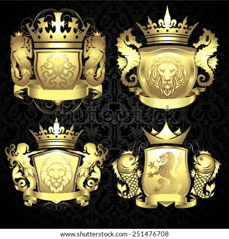 set of golden coat of arms